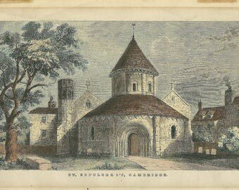 Antique Church Engravings - The Holy Sepulcher Or Round Church - Hand Coloured Steel Engraving - Cambridge UK - Circa 1850 - 1890s.