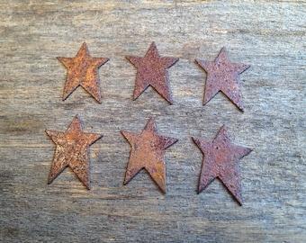 "1"" Rusty Tin Stars. Package of six (6). Tin Stars. Rusty Tin. Metal Stars. Rusty Metal Stars. Rusty Stars. Rusty Tin Embellishments."