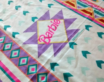vintage Mattel BARBIE Twin Flat Bed Sheet Geometric Colorful Fun