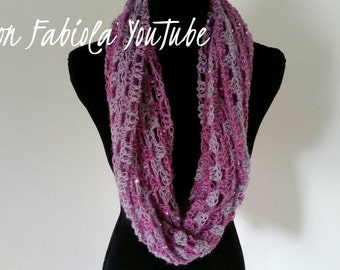 Infinity Scarf - Scarves for Women, Cowl Scarf, Eternity Scarf, Sequins, Crochet scarf, Pink Scarf