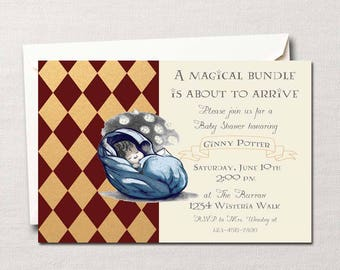 Harry Potter Baby Shower Invitation ~ Boy or Girl~ Gryffindor, Slytherin, Hufflepuff or Ravenclaw~ A Magical Bundle on the Way