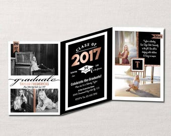Trifold Graduation Announcement & Invitation ~ Custom Photo Card showcases up to 6 personal Photos