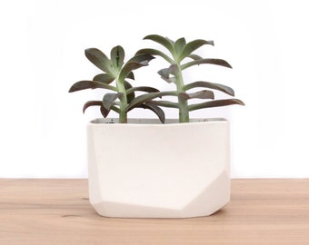 slip cast porcelain geometric planter