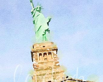 Watercolor Statue of Liberty Digital Photo