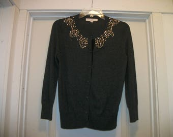 Retro 90s BEJEWELED Dark Grey BUTTONUP SWEATER,  M to M Lg