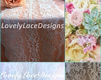 Mint Weddings/Mint Lace Table Runner 8in Wide x 60in Long, Mint Wedding Decor, Lace Overlay, Rustic Weddings/wedding ideas/decoration