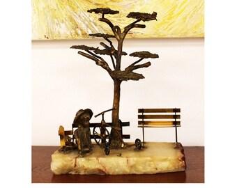 Mid Century Modern Mario Jason Signed Bronze Table Sculpture Tree Child Jere Era