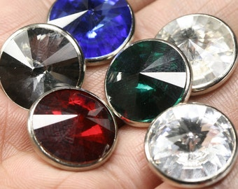 button 17.5 mm rhinestone 5 pcs