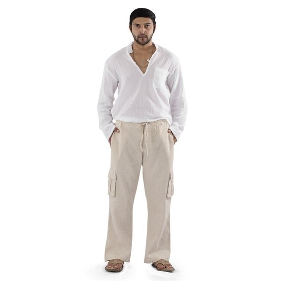 Mens Linen Draw String Pants Elastic Waist And Drawstring