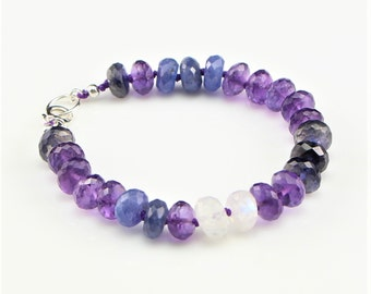 Purple Amethyst, Tanzanite, Blue Iolite, and Rainbow Moonstone, Hand Knotted, Gemstone Bracelet with Sterling Silver Lobster Clasp
