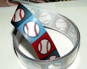 "Puppy Bows ~ ribbon craft supplies  7/8"" x 3 yards baseballs brown blue squares"