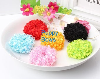 Puppy Bows ~ Girl OR Boy ROLY POLY flowers dog hair pet clip  ~Usa seller