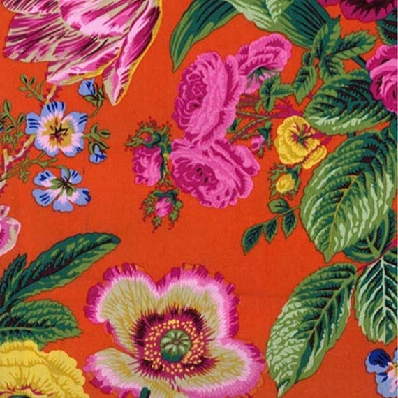 SUMMER BOUQUET RED pwpj086 Philip Jacobs for Kaffe Fassett Collective Sold in 1/2 yd increments