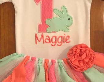 Pink, Mint, and Coral Birthday Bunny Tutu Outfit