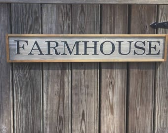 "Farmhouse Sign. Farmhouse Wall Decor. Rustic Farmhouse Sign.  30 1/2"" x 5 1/4"" x 1""."