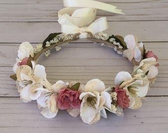 Romantic Dusty Rose Flower Crown, Beige Flower Girl Flower Crown, Boho Flower Girl, Tea Rose Flower Crown, Vintage Wedding, Baby Photo Shoot