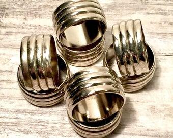 8 Silver Napkin Rings, Home Decor, Table Napkin Holders, Table Decor, Ribbed Napking Rings, Silver Plated Serviette Holders
