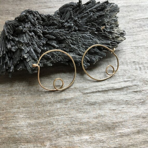 Small Scribble Hoops: 14k Gold Fill