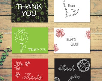 Pack of 6 Thank You Printable Cards | Template | Instant Download | Elegant Design | Ready to Print