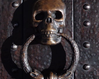 Solid Cast Bronze Skull Door Knocker