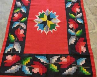 Vintage Southwestern  Woven Red Cotton Wool Blend Blanket or Rug 74 x 45