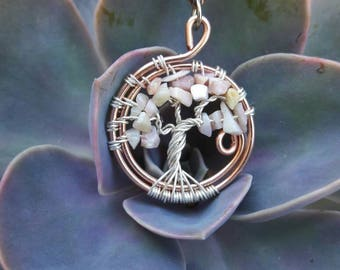 Tree of Life, opal tree of life, pink pendant, Tree of life jewelry, Crystal Jewelry, trippy serendipity, trippyserendipity, opal, October