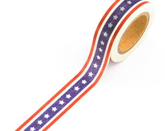1 Roll Washi Tape Independence Day//4th Of July//USA Flag 15mm x 10meters//Gift Wrap//Craft//Stationary//Scrapbooking//Card Making//Collage