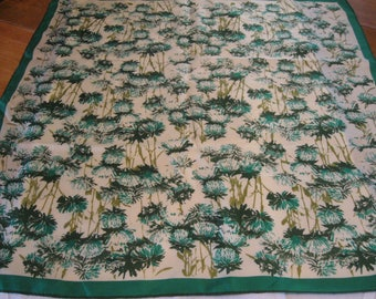 "Vintage Vera Square 100% Silk Scarf Greens Just Beautiful! 26"" Large"