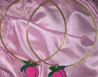 Peaches and Cream Delight faux gold hoop earrings kawaii peach fruit