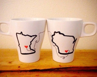 Long distance Relationship Coffee Mugs! Valentines day Gift, Going away present, moving away, college