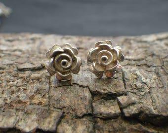 Vintage Sterling Silver Rose Flower Stud Earrings