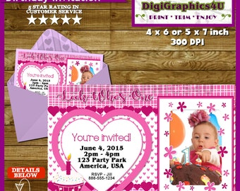 First Birthday, One Year Old Baby Girl Birthday Party Invitation - Personalized Printable File