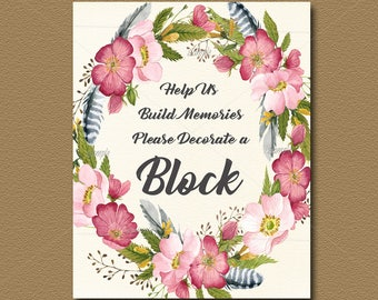Boho Baby Shower Decorate A Block Sign, Printable, Floral Watercolor,  Tribal Baby Shower