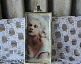 Vintage style necklace. Jean Harlow necklace. Handmade. Silver bezel.