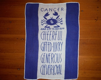 Vintage Cancer Zodiac Hankie - Vintage Astrology Astrological Zodiac Sign Hankie - Blue Cancer Crab Astrology Linen - Vintage Astrology