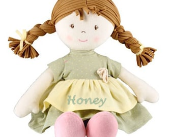 Soft Ragdoll, Personalised HONEY Rag Doll, Neutrals  Birthday, Flower Girl, Wedding, Christening, Keepsake,Christmas, Suitable for Newborn
