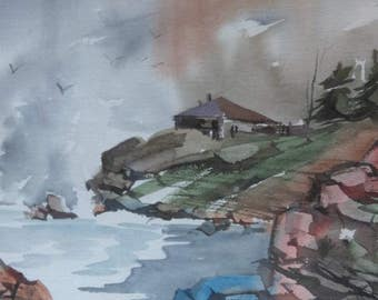 Vintage Watercolor Painting Signed Coastal Landscape Rocky Coast Expressionist