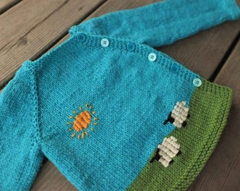 Hand Knitted Baby Sweater, Wool Baby Sweater, Boy Wool Sweater, 12-24 months