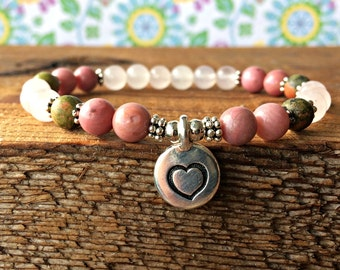 Happy Healthy Pregnancy Bracelet, Healing Pregnancy Jewelry, Rose Quartz-Unakite-Rhodonite, Emotional Balance-Unconditional Love-Compassion