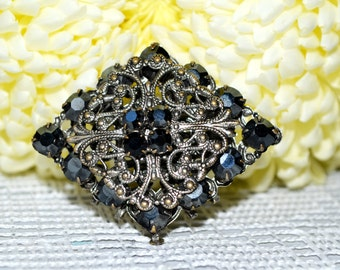 Vintage Crystal Rhinestone Brooch, Black silver tone, Art Nouveau Pin, Rhinestone pin, Gothic Wedding, elegant brooch, Gothic Black Pin