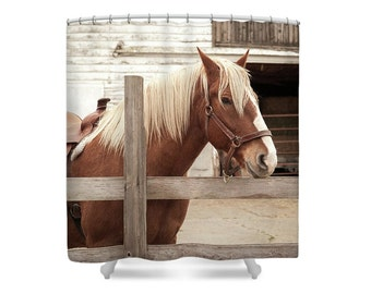 Horse Shower Curtain, Brown Bathroom Decor, Horse Photography, Rustic Home  Decor, Nature