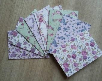 Purple flowers mini card set-set of 8 blank cards