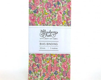 Betsy Anne C Liberty of London Bias Binding 3m - 20mm - Liberty Classic Collection 100% cotton Liberty Tana Lawn - 3m 3.28 Yards