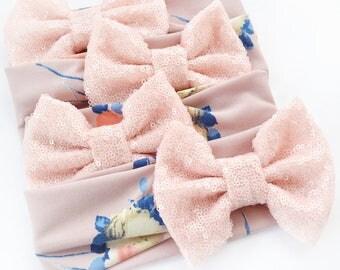Mauve Floral Sparkle Bow Headwrap