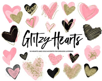 Pink Watercolor Heart Clipart / Clipart Hearts / Gold Glitter Hearts / Gold Hearts Clip Art / Valentines Clip Art / Valentines Day Clipart