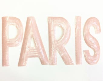 PARIS Patch Sequined patch applique sewing on Patch for adding that extra touch