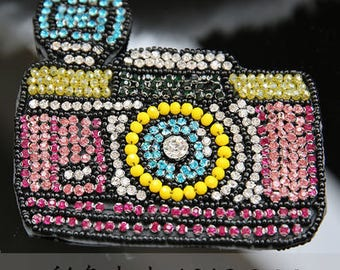 Camera crystal sequins patch Beaded Lace applique patches DIY fashion bags shoes clothing accessories decoration sew on patch