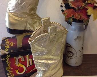 vintage steve fleming gold cowboy boots/gold boots braided detail/metallic cowboy boots 8