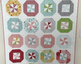 Pink, Red and Green and Blue Modern pinwheel Baby Girl Quilt