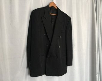 Black Jacket Double Breasted Vintage Men's XL